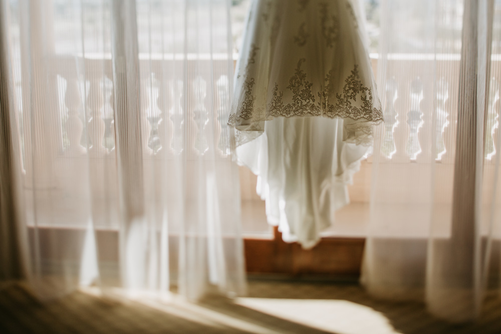moody wedding dress shot