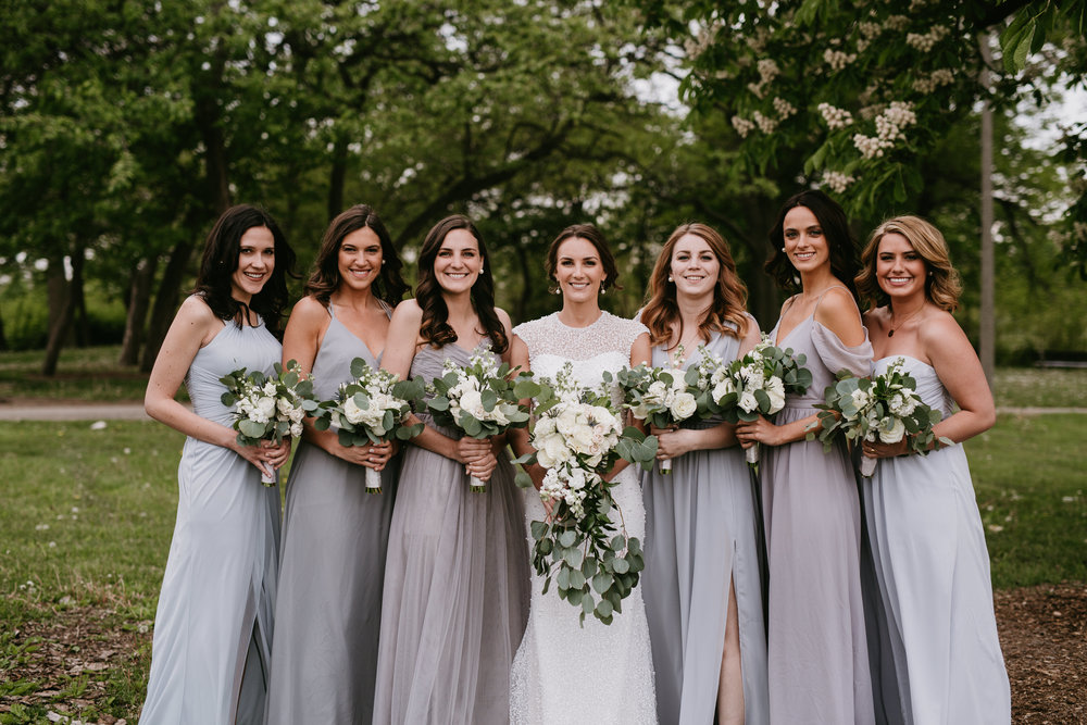 gray bridesmaid wedding