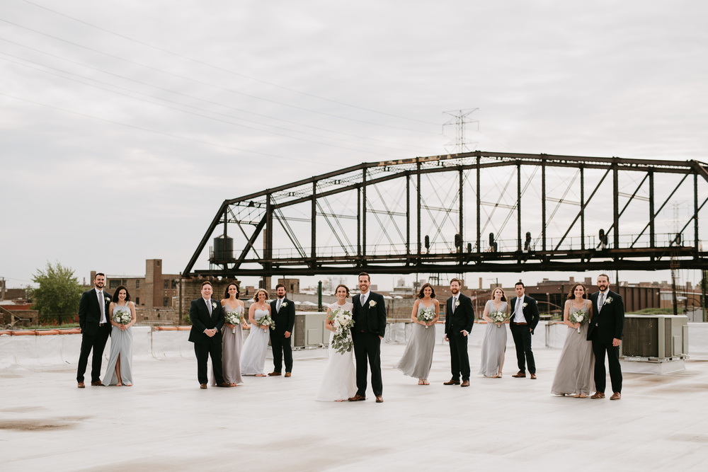 rooftop bridal party photo