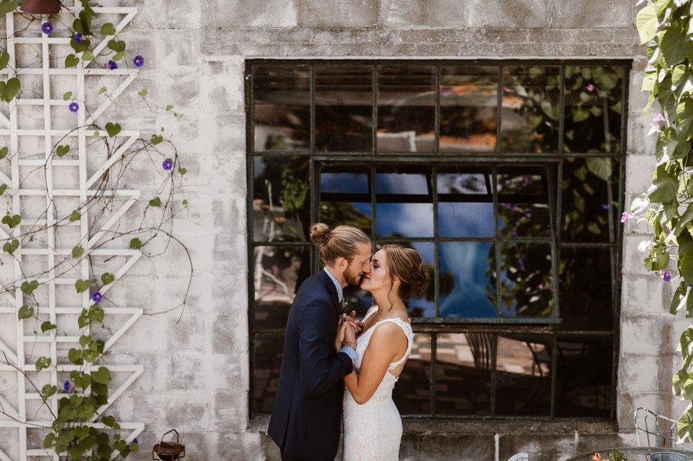 bride and groom at sundance studios wedding venue