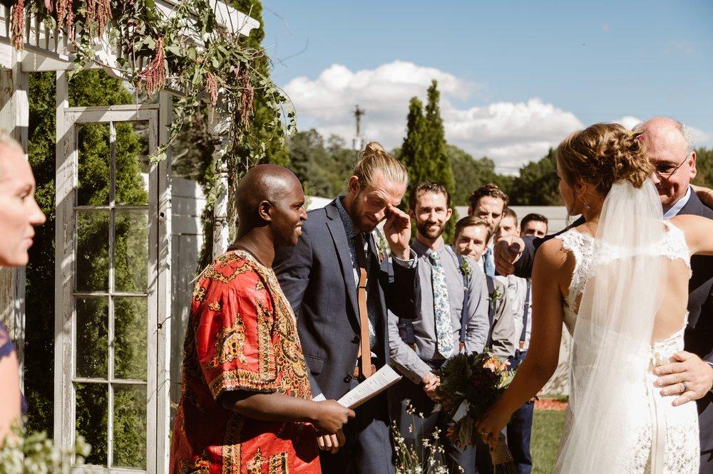 emotional groom at sundance studios wedding ceremony