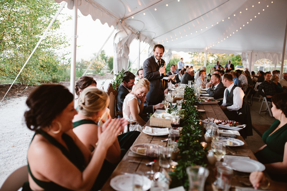 groomsman speech at heritage prairie farm wedding
