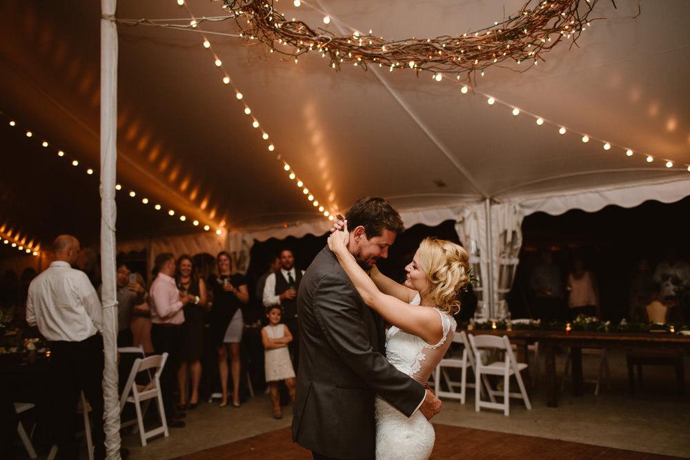 romantic first dance with bride and groom