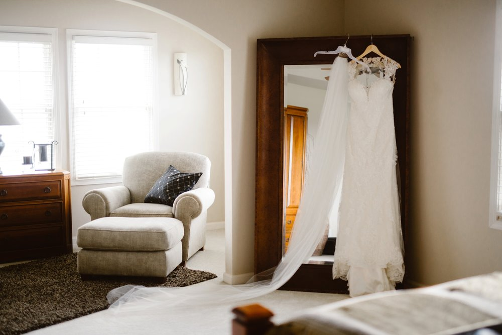 wedding dress at childhood home