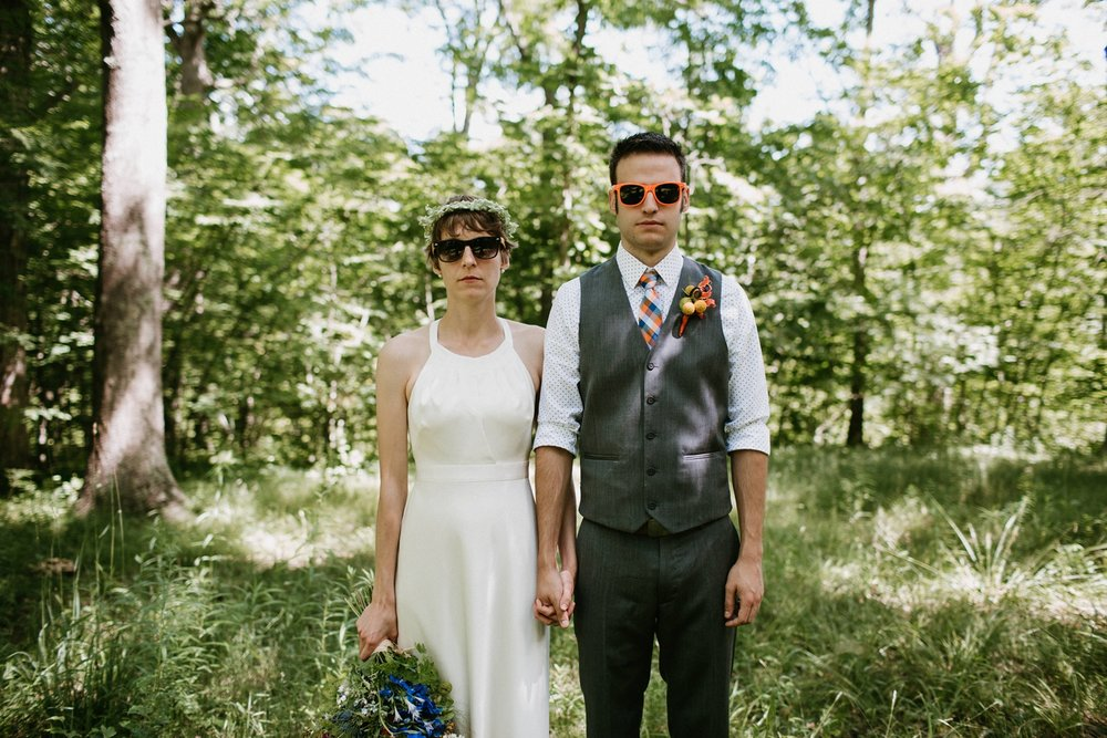 edgy outdoor wedding with sunglasses