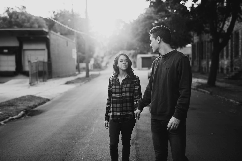 downtown grand rapids sunrise engagement