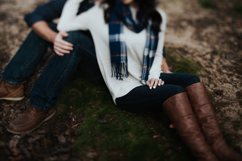 intimate engagement session in the woods