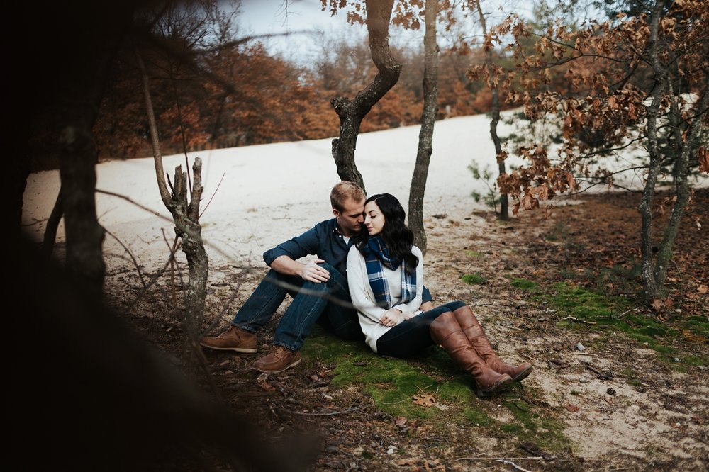 michigan sand dune engagement shoot