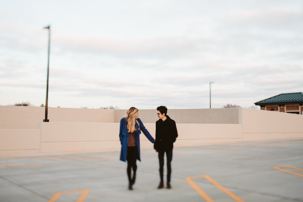 michigan engagement shoot on the rooftop of a parking garage