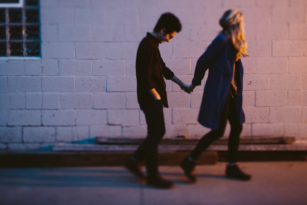 sunrise engagement session in the alley of downtown detroit