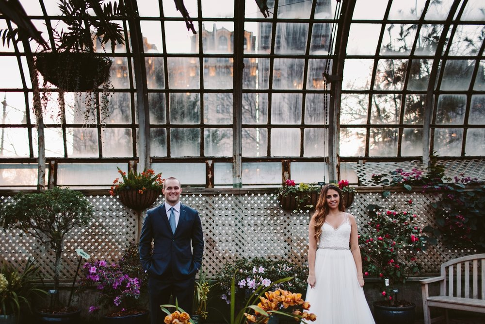 greenhouse conservatory romantic and intimate elopement photographer