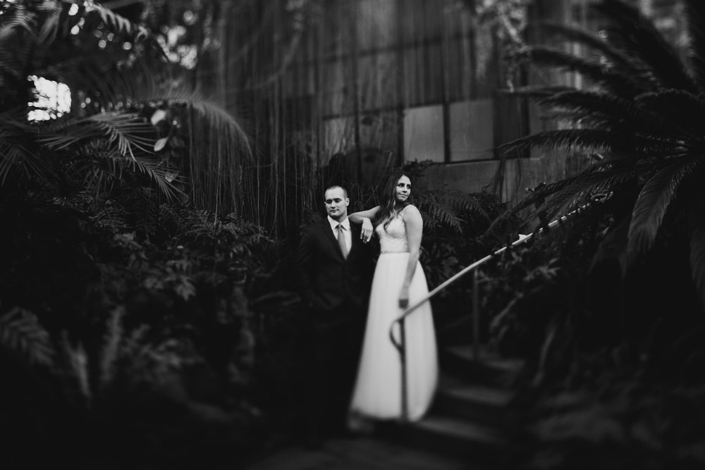 dark and moody elopement couple in their greenhouse ceremony