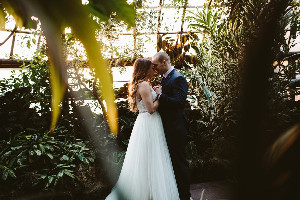 elopement in lincoln park conservatory surrounded by lush greenery