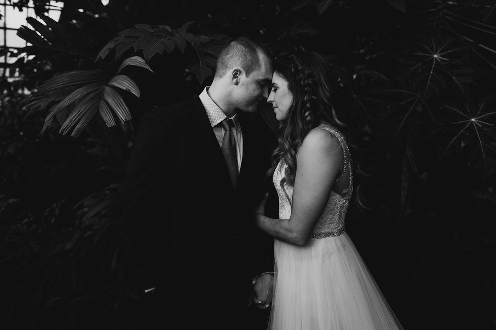 moody and romantic moment between couple during planterra elopement