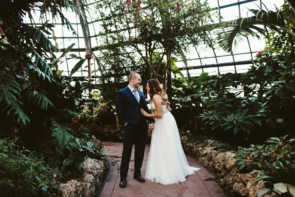 Lincoln park conservatory wedding in downtown chicago