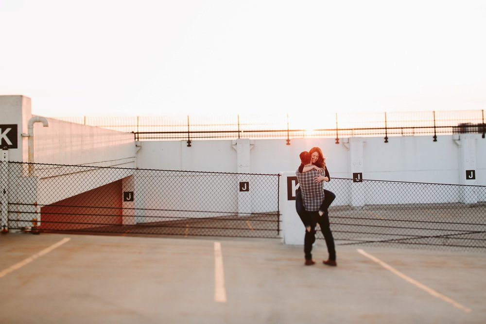 parking garage portrait shoot at sunset