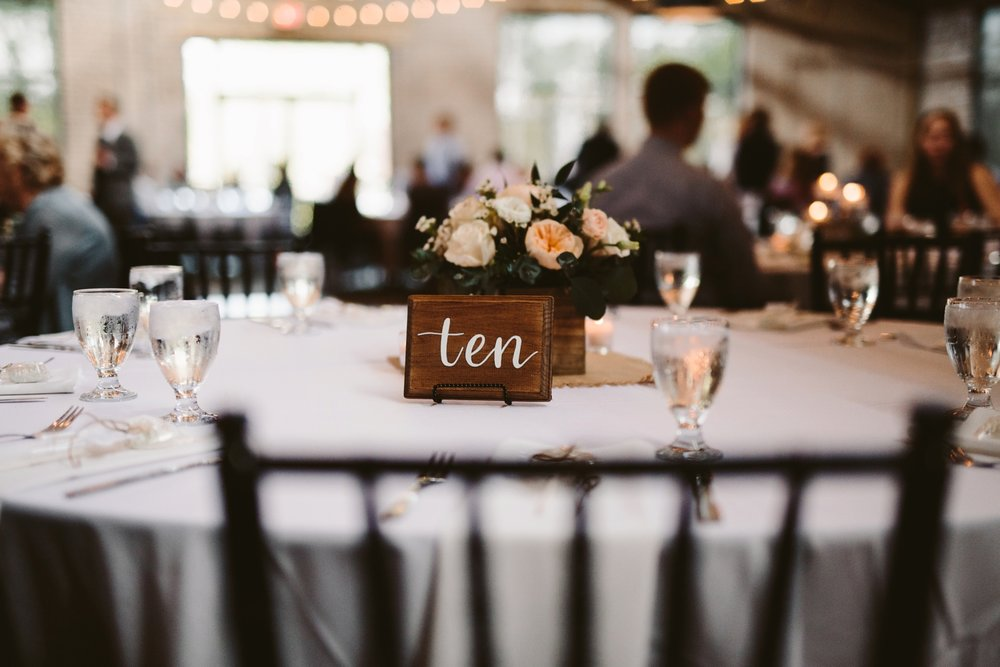 diy baker loft reception venue table numbers