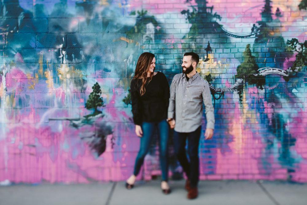 detroit wedding photographer in front of eastern market murals