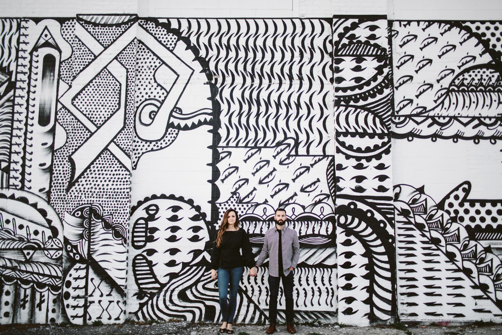 black and white mural in downtown detroit for engagement session