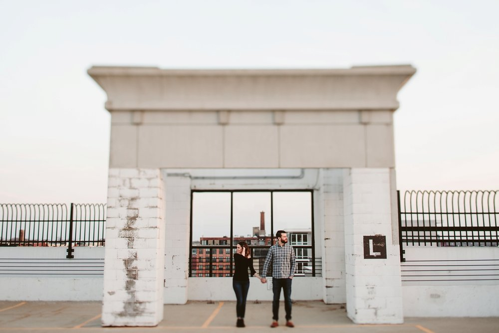 grand rapids rooftop sunset engagement photographer