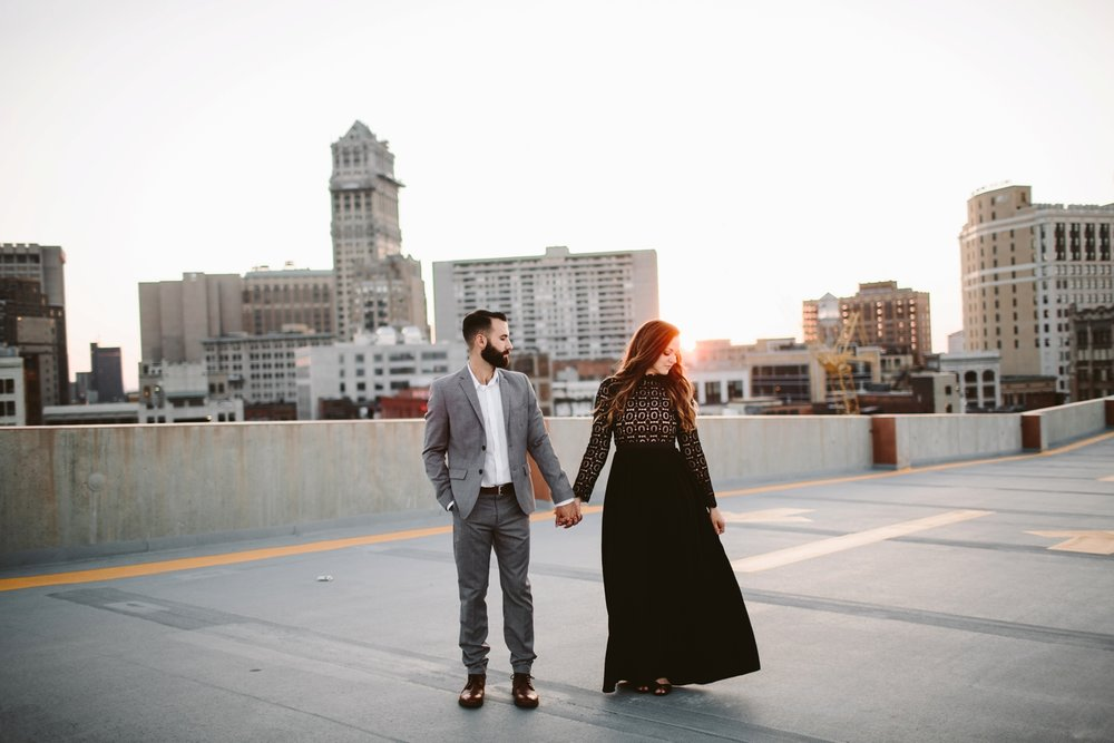 downtown detroit rooftop engagement session