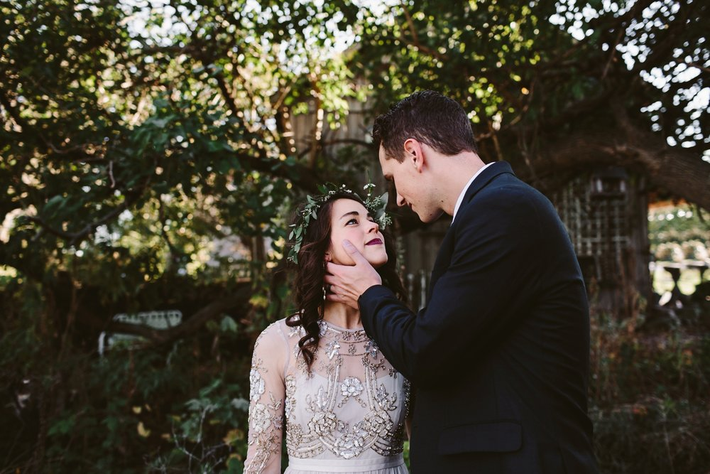 bhldn bohemian gown at grand rapids wedding