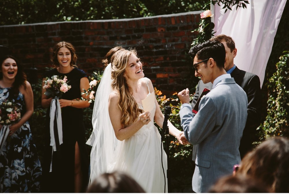 scarab club courtyard wedding ceremony