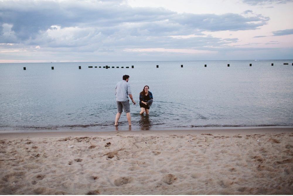 chicago north beach engagement