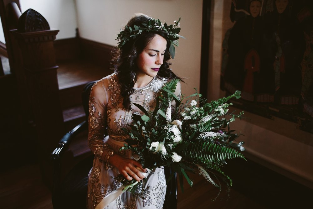 grand rapids michigan flower crown and whimsical wedding bouquet