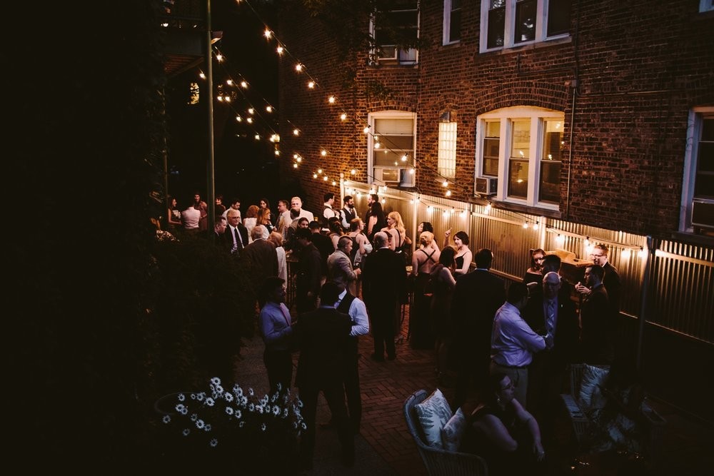 twinkle lights at firehouse chicago night time wedding