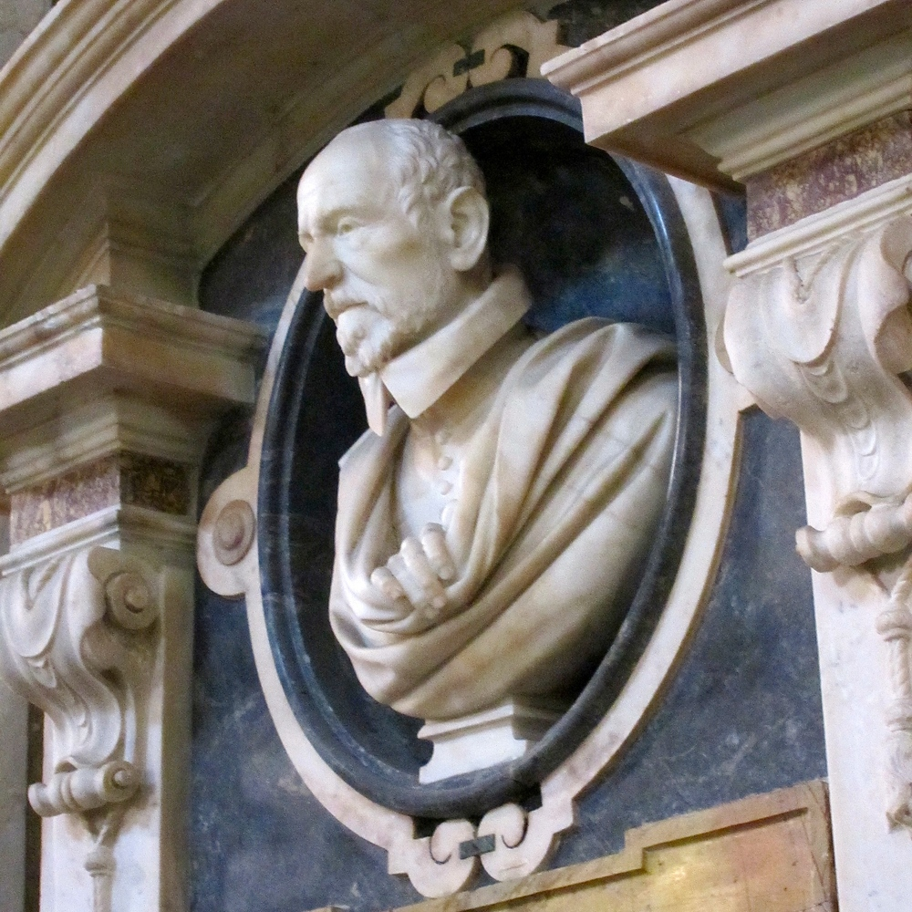 Bernini's memorial bust of Giavani Vigevano, inside the church of Santa Maria Sopra Minerva, Rome