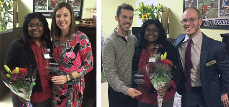 Left photo: Stephanie Gore (left), VR Transition Counselor, and Kelly Sieling, Berkeley-Dorchester Area Supervisor. Right photo (left to right): Jason Torres, AccessAbility;  Stephanie Gore, VR Transition Counselor;  Nathan Todd, AccessAbility.