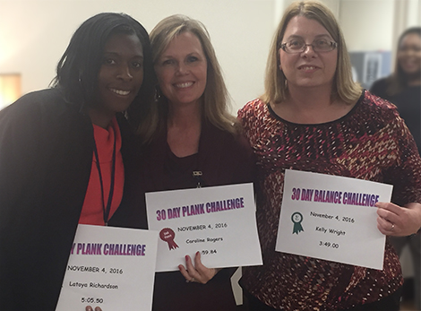 (left to right): Balance Challenge winners: Latoya Richardson, Caroline Rogers, Kelly Wright.