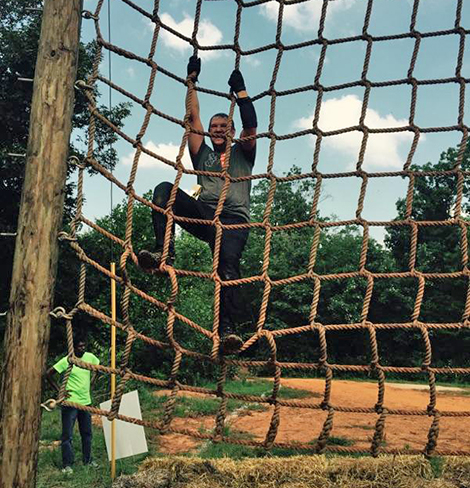 "Randy ""Spider-man"" Hogan, Oconee-Pickens Job Readiness Training Coordinator, climbs the ropes."