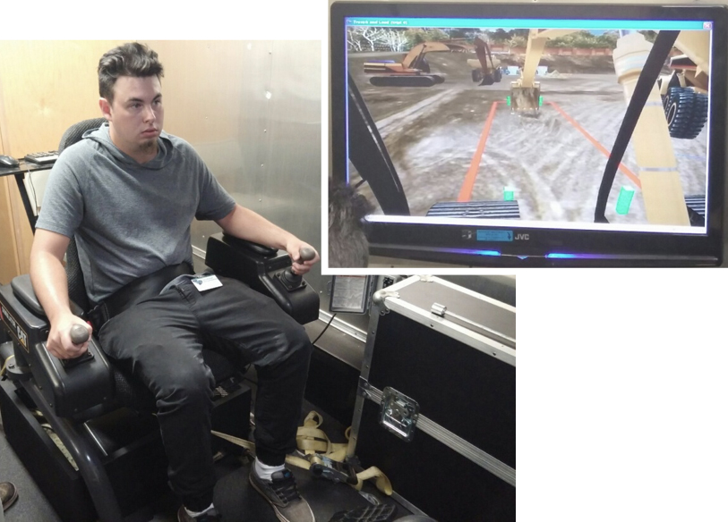 Bryan Getsinger, client, trains on the Heavy Equipment Simulator.