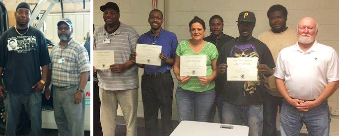 Left to right: VR clients Trevor Shannon, Elijah Stewart, Willie Wilson, Brandon Cousar, Janice Lane, Marvin Ricks, Quentes Wells, and Mickael Carter; Dennis Bolen, Instructor, Central Carolina Technical College. Not pictured: VR clients Tyanna June, Johnnie Rose,   Nastasia Winfrey.