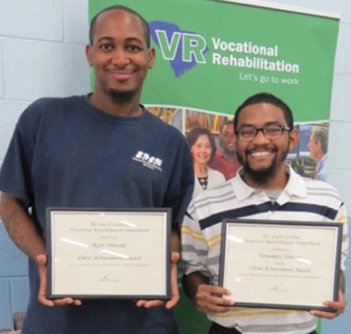 Lancaster Client Achievement Award winners Ryan Steward (left), Fernandez Johnson.