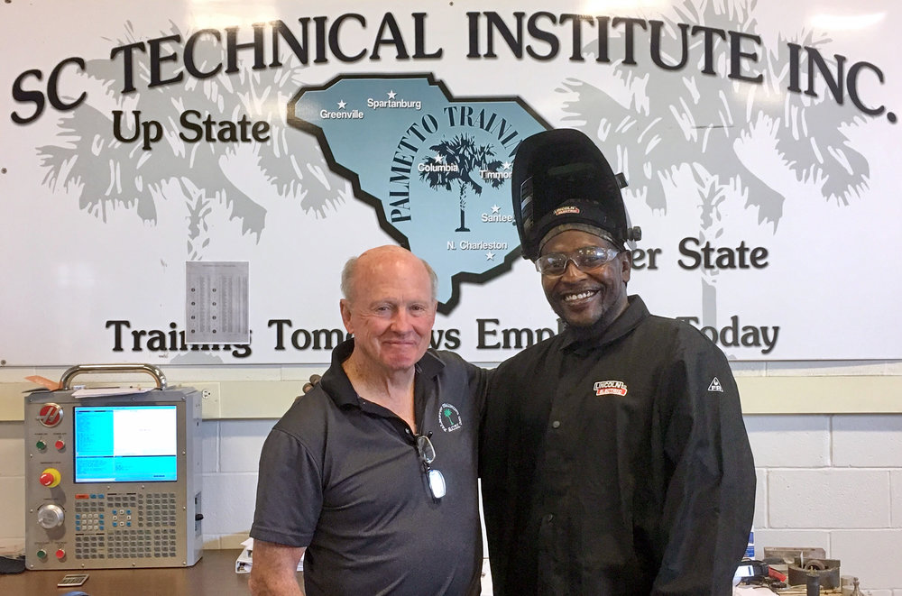 Eric Scriven (right), Welding Instructor, and Eddie Jackson, President of Palmetto Training, Inc.