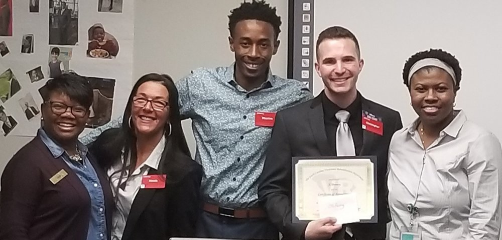 (left to right) Opal Clark, Nicole Mandine, Christopher Coker, and Maurice Gibson from the JC Penny at Sandhills lead the Dress to Impress workshop. Modoria Smith, VR Job Preparedness Instrutor, coordinated the workshops for the week.