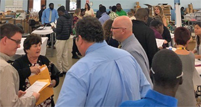 "Beaufort's ""Career Cluster Expo,"" held in the Training Center, was filled with consumers and representatives from local businesses."