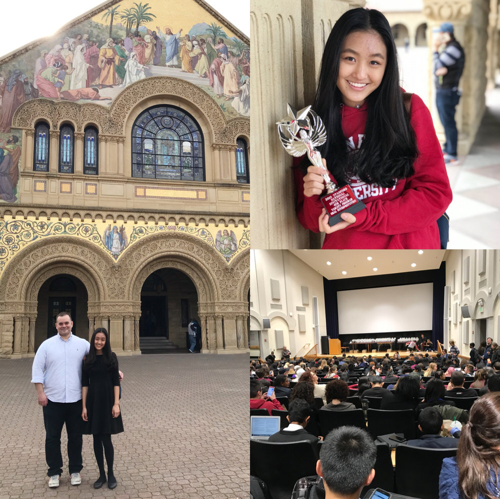 (Feb. 2018) 2018 Stanford national invitational  Congratulations to Stephenie! In her first national tournament performing a POI she won 4th place!  Stephanie - a middle school student competed in the hardest interpretive (acting) event, against the top high school seniors in the US, at one of the most prestigious events in the world.Thank you coaches for your great work. Thank you Stephanie for being willing to take a chance on something new!