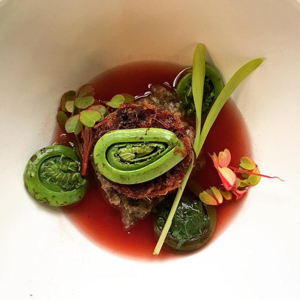 """Blossom Moon Second course: Smoked Turkey Cranberry Pemmican Soup • Wild Rice Cake • Fiddlehead Fern • Popcorn Shoot • Sorrel • Cranberry Wojapi Broth"" by Sean Sherman, The Sioux Chef.  http://sioux-chef.com"