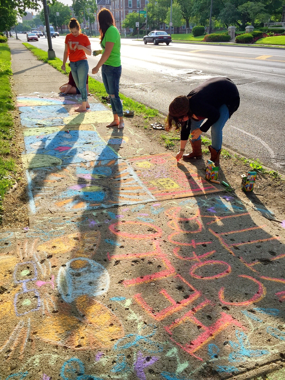 Pro-choice feminists chalked the sidewalks of Broad Street and Sherman Avenue with beautiful artwork on May 22, 2015.