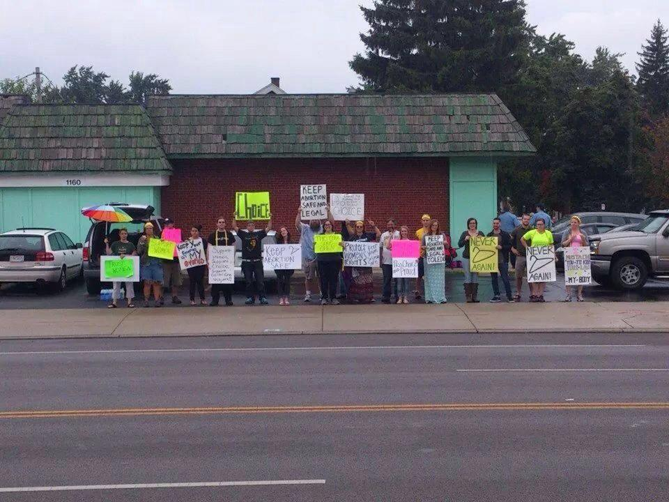 Pro-choice supporters rally outside of Capital Care Network, Toledo's last abortion clinic.
