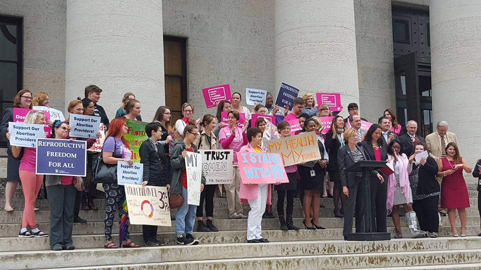 Photo taken at pro-choice press conference at the Ohio Statehouse on September 30, 2015.