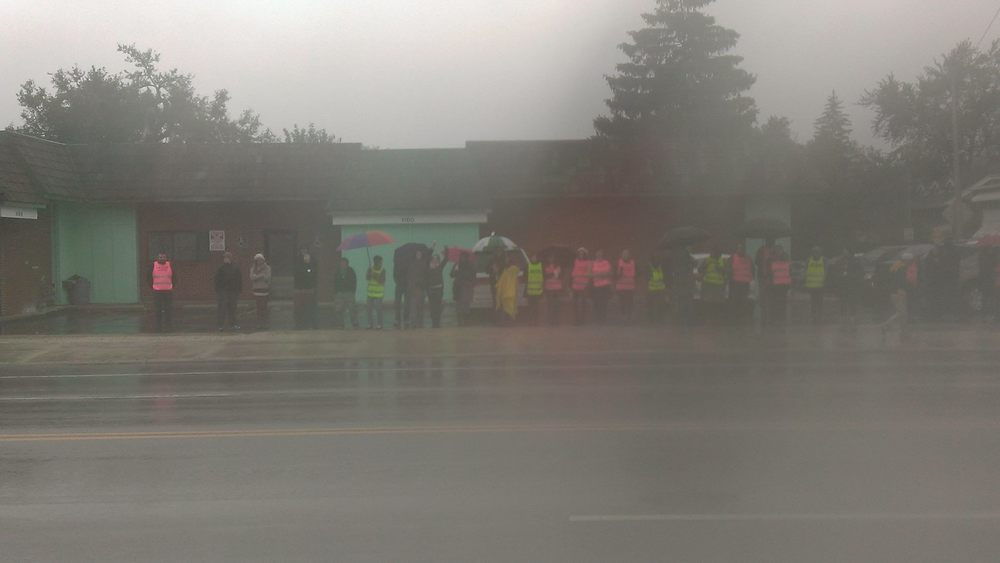 Photo taken outside of Capital Care Network of Toledo on October 3, 2015. 40 pro-choice volunteers mobilized to defend the clinic that morning.