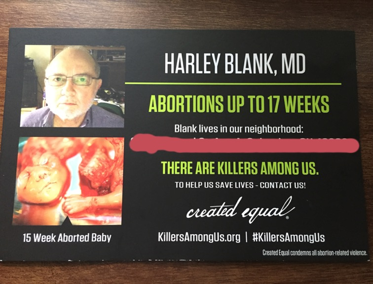 Dr. Blank is an abortion doctor at Founder's Women's Health Center. I blurred out the doctor's address for obvious reasons.