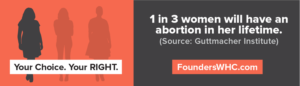 1 of 6 pro-choice ads appearing on an e-billboard located on 3rd Street and Spring Street in Downtown Columbus on 11/9 - 11/15.