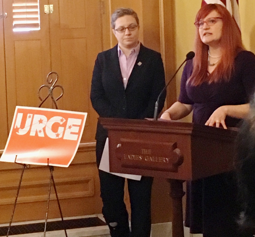 Amanda Patton shares her experiences dealing with anti-choice protesters during the URGE Press Conference on February 17, 2016.
