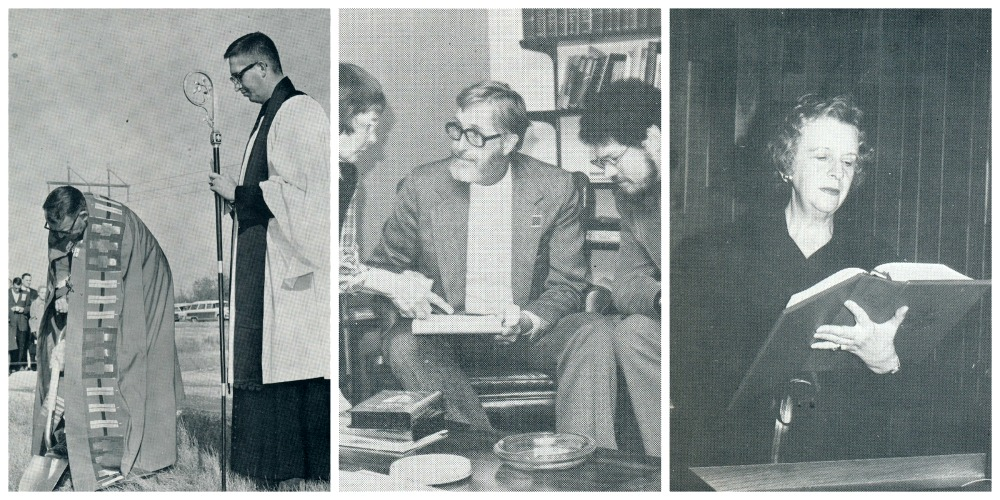 From Left: Bishop Chilton Powell and our first priest Rev. Richard Daniels breaking ground on our church in 1964; center: Ruth Gibbs and The Revs. Daniels and Holly meeting in the 1980s; Right: Founding member Eleanor Smith reading during one of our services.